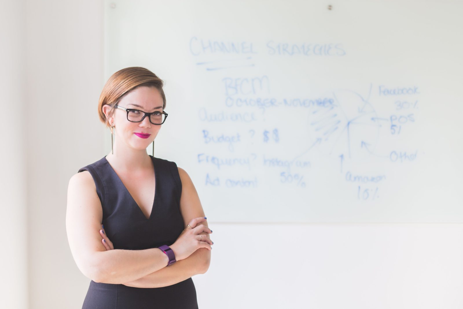 A businesswoman looking confident and smiling, standing in front of a whiteboard in an office space.